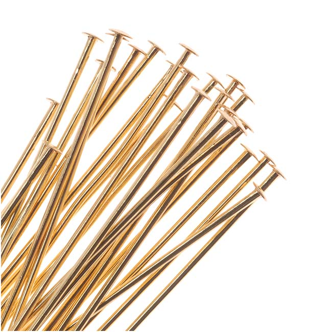 22K Gold Plated Head Pins 1 Inch Long/21 Gauge (50)