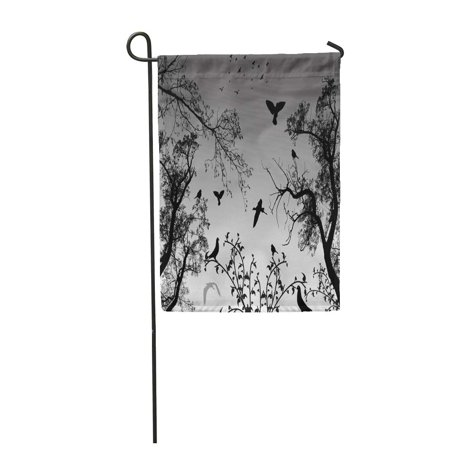 SIDONKU Forest Abstract Nature with Birds and Trees Branch Silhouette Black Foliage Gras Garden Flag Decorative Flag House Banner 12x18 inch](Birds Silhouette)
