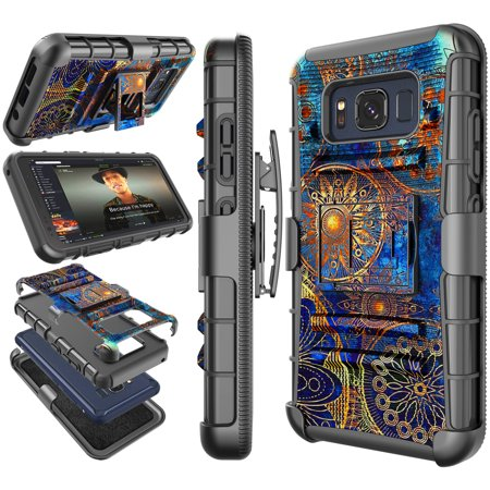 Tekcoo For 2017 Samsung Galaxy S8 Active / S8+ / S8 Plus / S8 Cases Holster Belt, Tekcoo [Hoplite] Shock Absorbing [Relic] Locking Clip Defender Heavy Full Body Kickstand Carrying (Custom Heavy Relic)