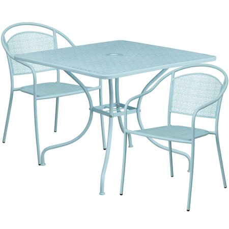 Flash Furniture 35 5 Square Indoor Outdoor Steel Patio Table Set With 2 Round Back Chairs Multiple Colors
