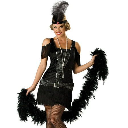 In Character Ladies Flapper Roaring 20s Outfit Halloween Costume (20s Headpiece)