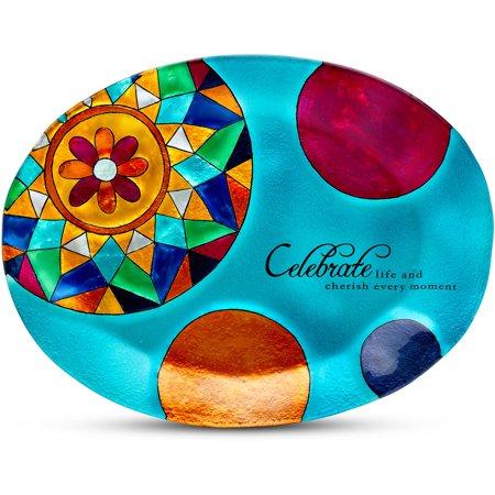 Pavilion- Celebrate life and cherish every moment 12x9 Oval Blue Polka Dot Glass Decorative Serving Plate ()