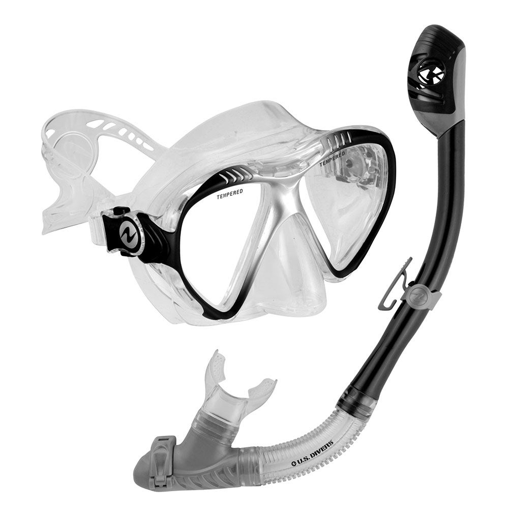 U.S. Divers Adult Magellan Purge LX Mask Tucson LX Snorkel (Black) by AQUA LUNG