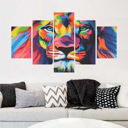 My.Way 5PCS Modern Art Oil Paintings Animal Lion Canvas Print Unframed Pictures Home Wall Sticker Decor](Animal Print Decor)