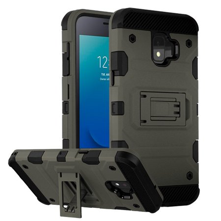 Samsung Galaxy J2 PURE /CORE /J2 Phone Case Combo TUFF Hybrid Impact Armor Rugged TPU Dual Layer Hard Kickstand Stand Protective Cover Gray Phone Case Cover For Galaxy J2 Pure /J2 Core (J260) /J2