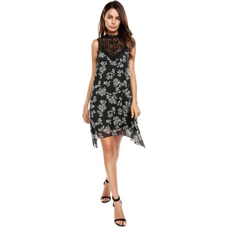Women Casual Sleeveless Lace Patchwork O Neck A-Line Chiffon Dress RllYE Patchwork Chiffon Dress