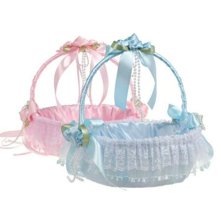 Lace Flower Girl Basket Decorative Flower Basket For Western Style Wedding Ceremony Party