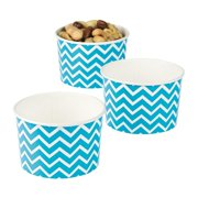 Turquoise Chevron Snack Bowls - Party Supplies - 12 Pieces