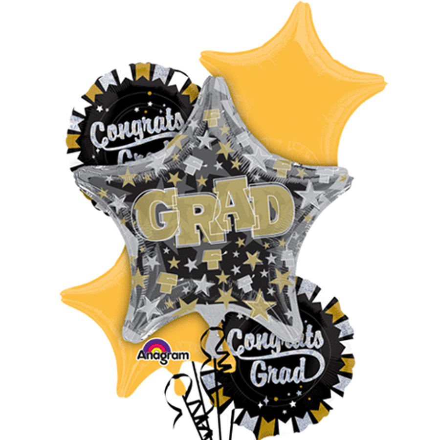 Anagram Congrats Grad Glitter Graduation Bouquet 5pc Balloon Pack Black Gold