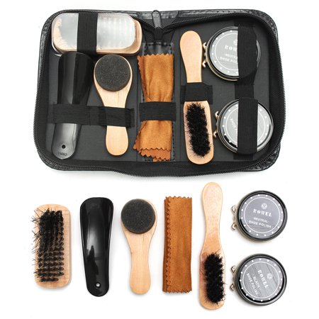 7 In 1 Shoe Shine Care Kit Neutral Polish Brush Set for Boots Shoes Care +Leather