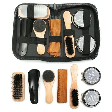7 In 1 Shoe Shine Care Kit Neutral Polish Brush Set for Boots Shoes Care +Leather (Executive Shoe Care Kit)