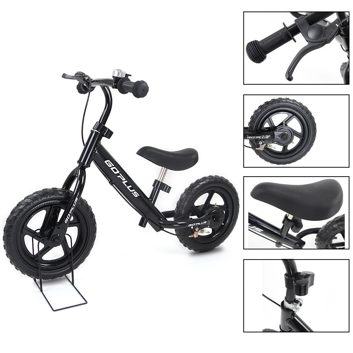 Goplus 12'' White Kids Balance Bike Children Boys & Girls with Brakes and Bell Exercise