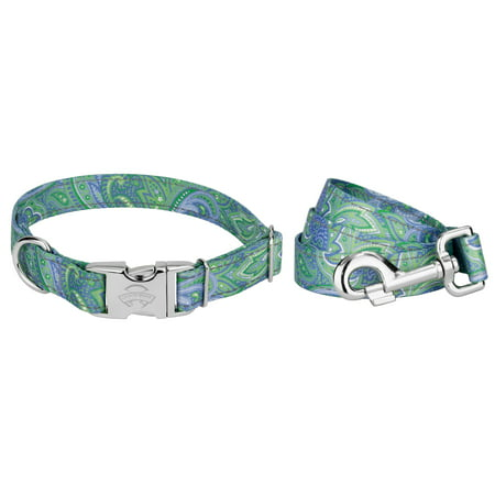 Country Brook Petz | Premium Green Paisley Reflective Dog Collar & Leash
