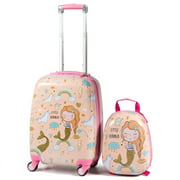 Gymax 2 PCS Kids Carry-on Luggage Set 12'' Backpack and 18'' Rolling Suitcase