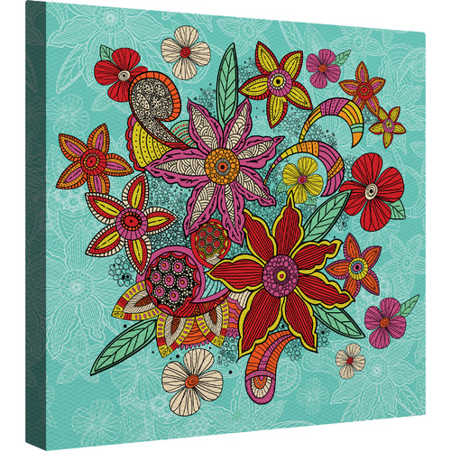 Laural Home Boho Floral - Turquoise by Carlos Merrier Graphic Art on Canvas