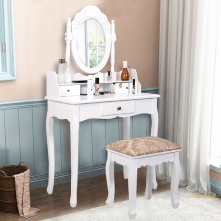 Costway Vanity Table Jewelry Makeup Desk Bench Dresser W Stool 3 Drawer Bathroom White Walmart Com