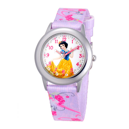 Disney Snow White Girls' Stainless Steel Glitz Glitz Watch, Printed Fabric Strap