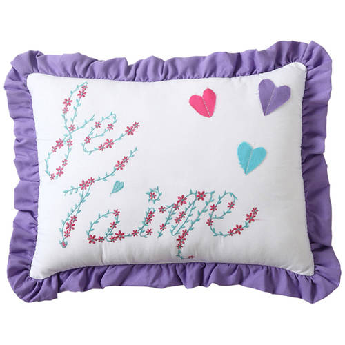 "VCNY Amanda Multi-Colored Heart ""Je Taime"" Embroidered Decorative Kids Pillow"