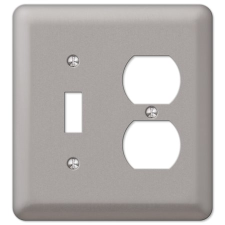 Plated Pewter Toggle (Amerelle 2TDPW Decorative Steel Round Corner Wall Plate Toggle/ 1 Duplex Outlet, Pewter)