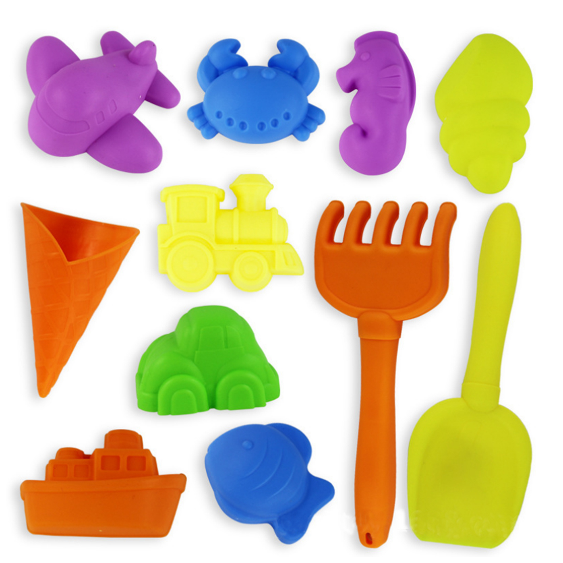 12Pcs Children Beach Play Toy Novelty Sand Mold Kids Shovel Beach Toy Color Random by