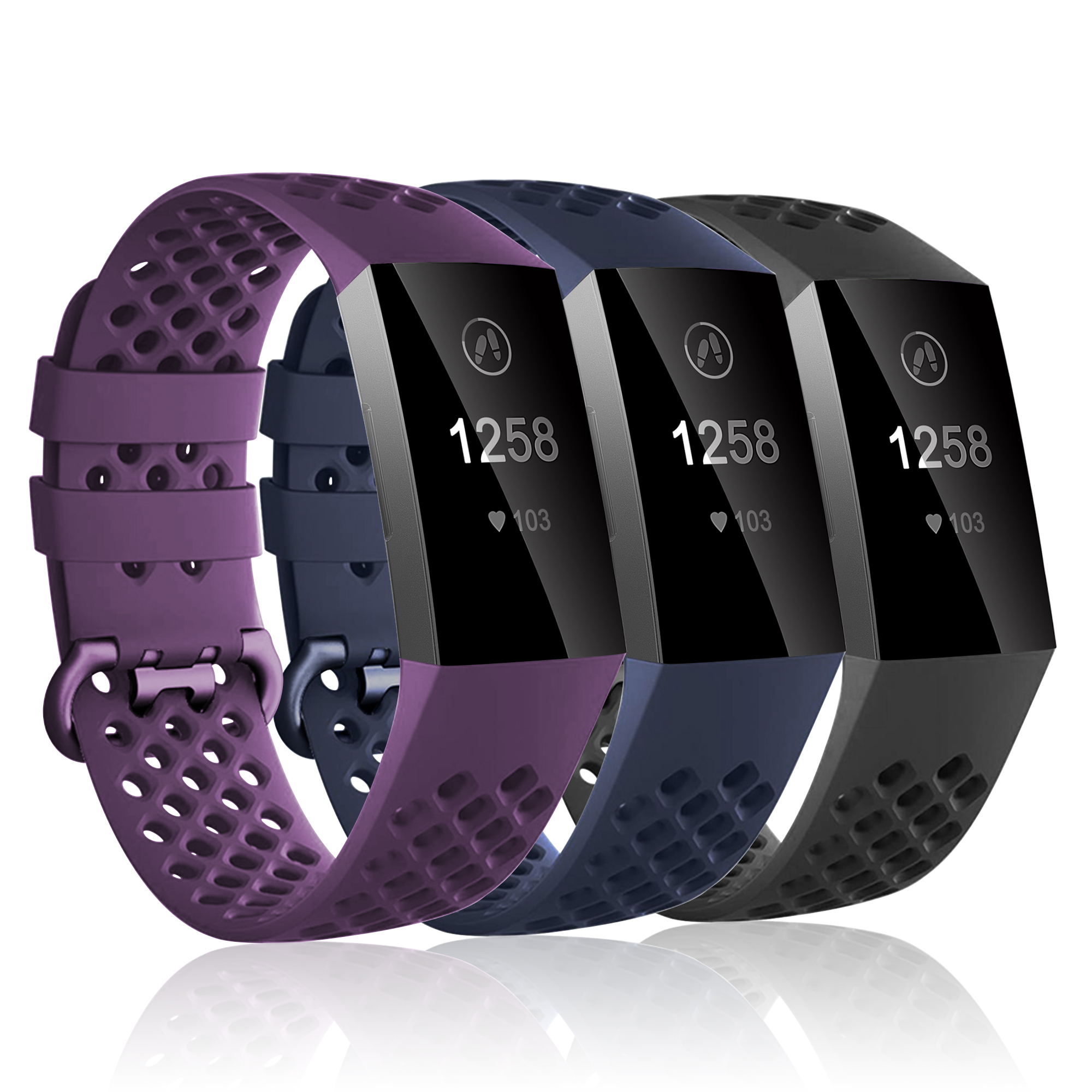 Luxmo Replacement Bands Compatible with Fitbit Charge 3 and Fitbit Charge 3 SE(3Pack), Sport Replacement Wristbands with Secure Metal Buckle for Fitbit Charge 3 and Fitbit Charge 3 SE(Small)