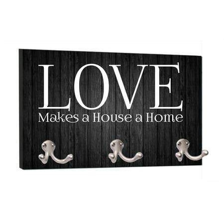 - Love Makes a House a Home - Black Wood Print - 8