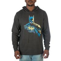 DC Comics Men's Black Heather Lightweight Jersey Hoodie