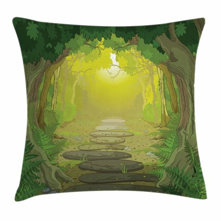 Forest Throw Pillow Cushion Cover, Magical Pathway with Trees and Ferns Fantastic Ancient Fairytale, Decorative Square Accent Pillow Case, 16 X 16 Inches, Sage Yellow and Fern Green, by Ambesonne (Sage Green Decorative Pillows)