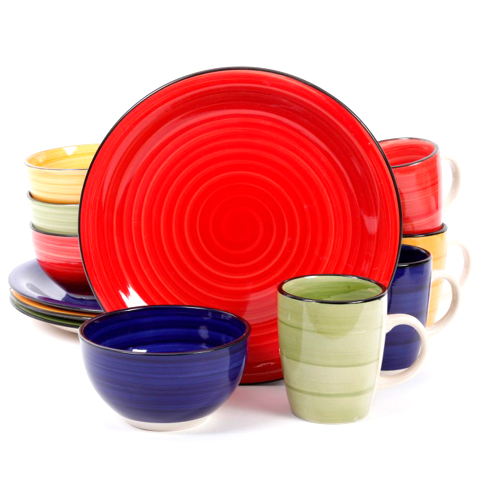dinnerware sets for 12 gibson home 12 color vibes handpainted stoneware 12224