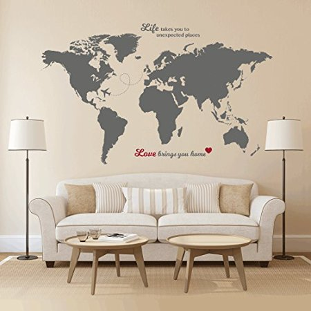 Timber Artbox Huge World Map Wall Decal With Quotes Best For - Large world map walmart