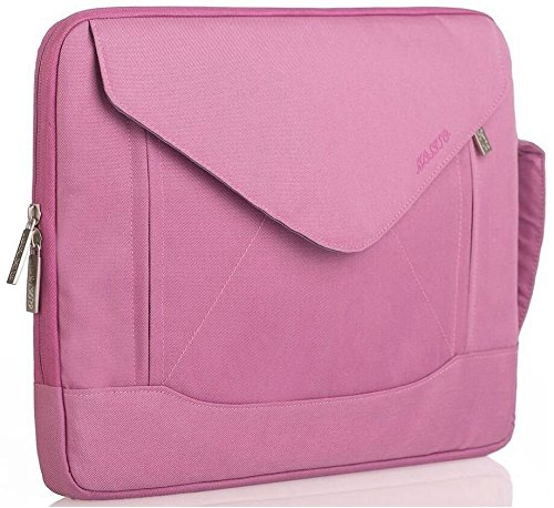 Mosiso Laptop Case, Envelope Nylon Fabric Shoulder Case Messenger Bag Pouch Sleeve for 15-15.6 Inch Laptop / Notebook / MacBook / Chromebook Computers with Shoulder Strap Handle and Pockets, Pink