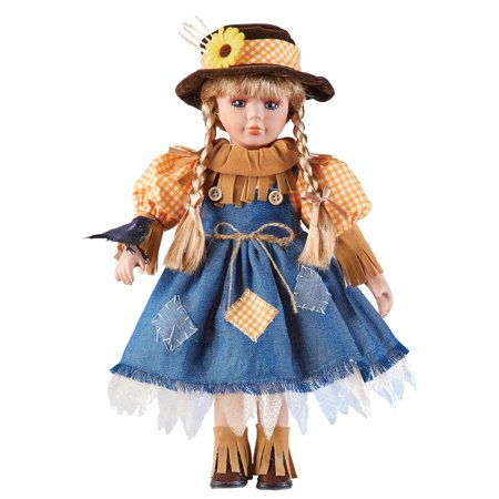 Women's Scarecrow Girl Collectable Porcelain Doll with Crow, Fall Home Décor (Porcelain Doll Halloween)
