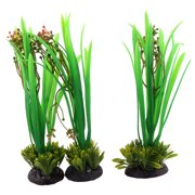Unique Bargains Ceramic Base Artificial Plants Decor 3 Pcs for Fish Tank Aquarium Ornament