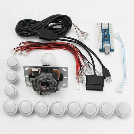 Hot Arcade DIY Replacement Part Set Kits USB Encoder + PC Joystick +Push  Buttons,White color