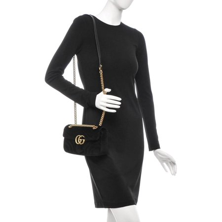 ae88a19a0e8 Gucci - Marmont Matelasse Mini Gg 6ge0104 Black Velvet Cross Body Bag -  Walmart.com