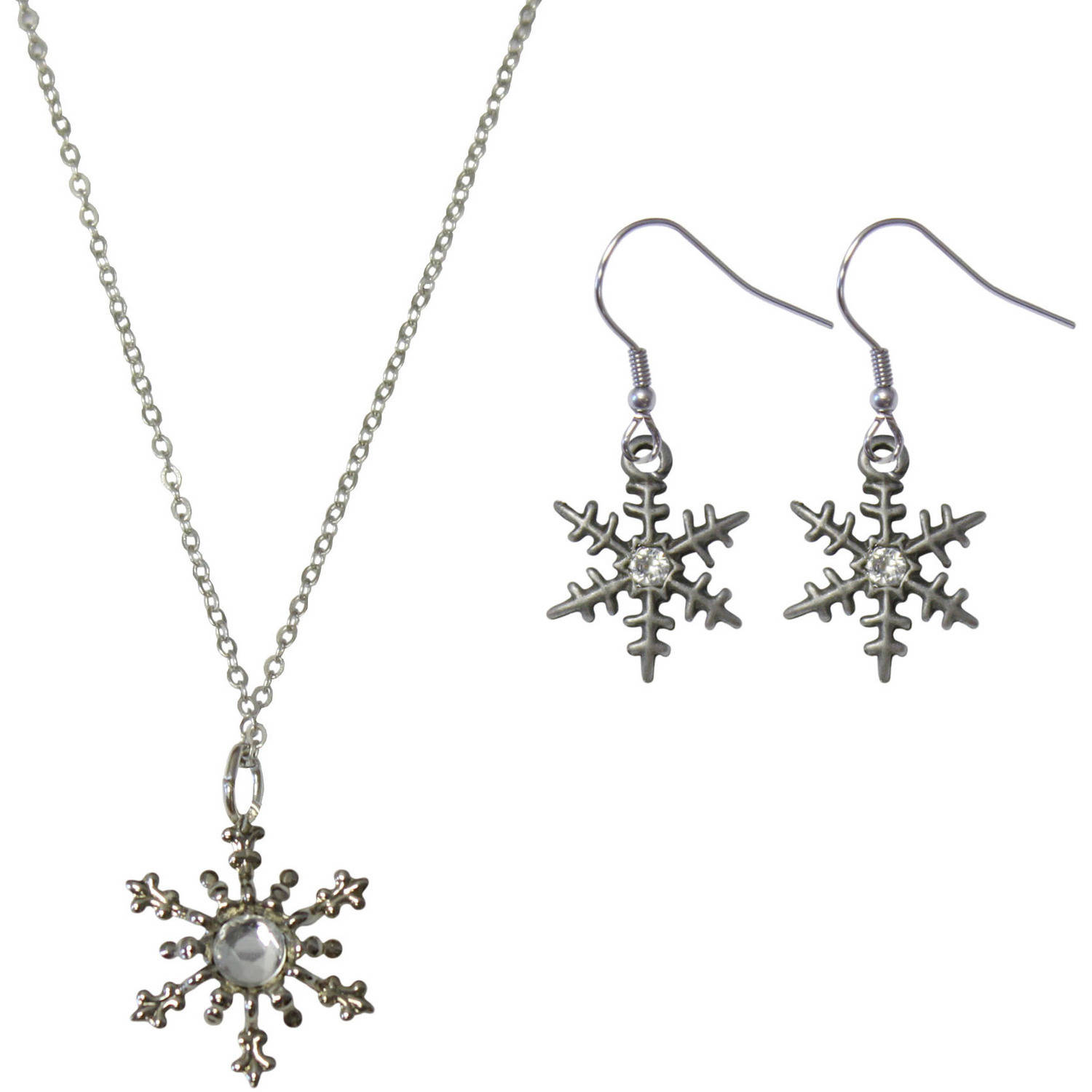 Gloria Duchin Snowflake Necklace and Earrings Jewelry Set