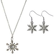 Snowflake Necklace and Earrings Jewelry Set