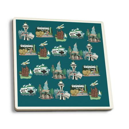 Seattle, Washington - Cartoon Icons - Lantern Press Artwork (Set of 4 Ceramic Coasters - Cork-backed, Absorbent) - Carbon Lantern