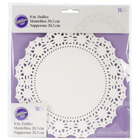 Greaseproof Doilies, 8-Inch, White Circle, 16-Pack, Add instant elegance to cake plates dessert trays entree and sandwich servings and so much.., By Wilton