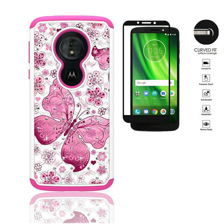 Phone Case for Motorola Moto G6 Play, Motorola Moto G6 Forge, Motorola moto g play (6th Gen) Case, Dual Layer Crystal Cover Protective Case + Tempered Glass Screen Protector (White- pink butterfly) (Moto G Ext Accessories)