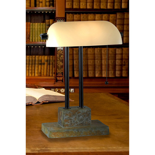 Kenroy Home Greenville Banker Lamp, Natural Slate with Oil Rubbed Bronze Accents