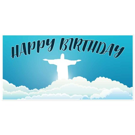 Blue Sky with Clouds Angel Birthday Banner