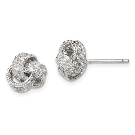 925 Sterling Silver Cubic Zirconia Cz Love Knot Post Stud Earrings Ball Button