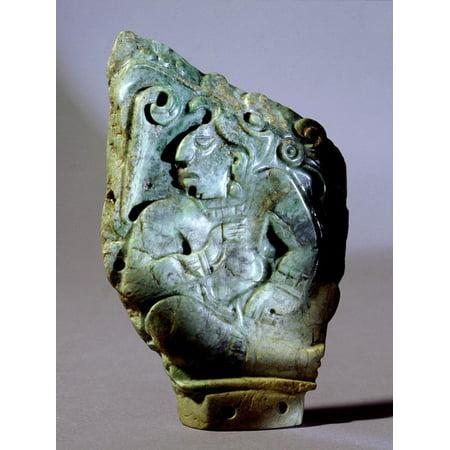 Carved jade pendant depicting a Copan ruler, Mayan, Honduras, c250-900 Print Wall Art By Werner Forman