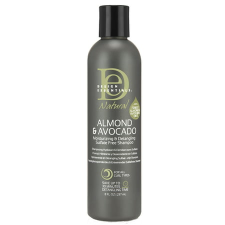 Essential Natural - Design Essentials Natural Almond & Avocado Moisturizing & Detangling Sulfate-Free Shampoo, 8 Oz