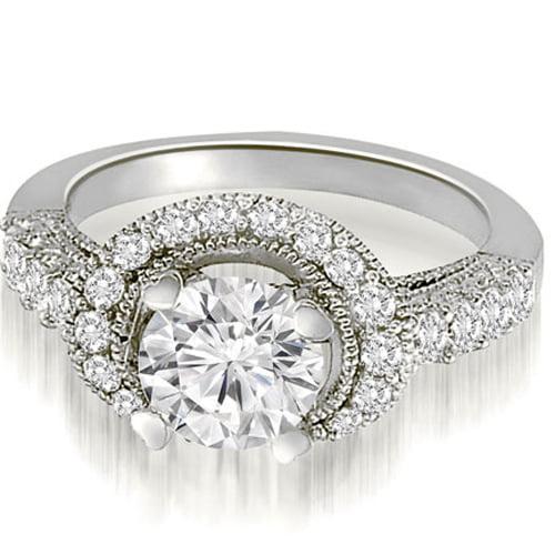 """1.65 cttw. 18K White Gold Milgrain Halo Round Cut Diamond Engagement Ring (I1, H-I)"""