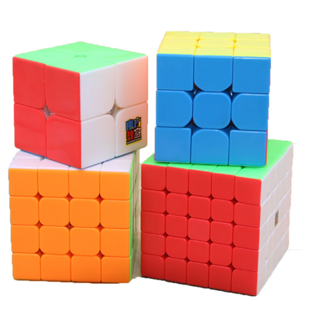 4Pcs Speed Sticker Smooth Magic Rubik Cube, 6 color Puzzles Educational Special Toys Brain Teaser Gift Box 4 in 1 Set (2x2 3x3 4x4 5x5) ,Stickerless Develop Brain And Logic Thinking Ability Best