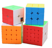 4Pcs Speed Sticker Smooth Magic Rubik Cube, 6 color Puzzles Educational Special Toys Brain Teaser Gift Box 4 in 1 Set (2x2 3x3 4x4 5x5) ,Stickerless Develop Brain And Logic Thinking Ability Best Gift