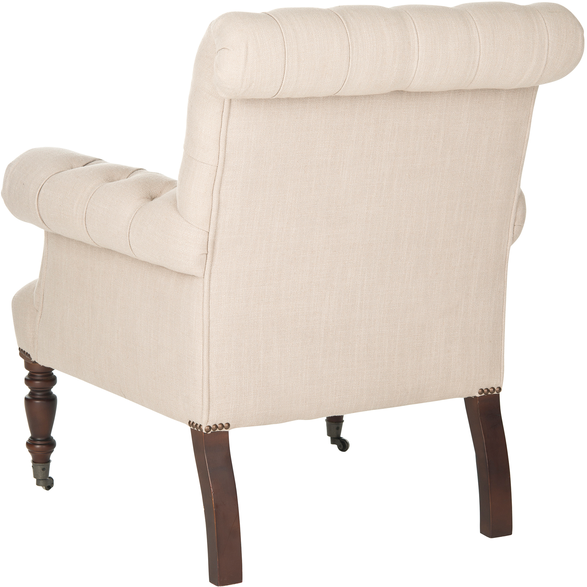 Safavieh Bennet Club Chair, True Taupe with Brass Nail Heads by Safavieh