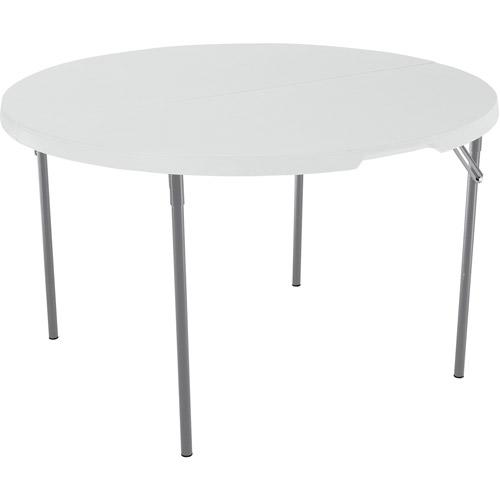 Lifetime 48 Round FoldInHalf Table White Granite Walmartcom